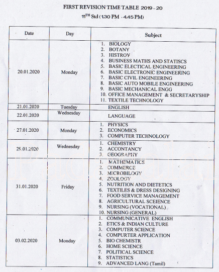 11th First Revision Time Table 2020