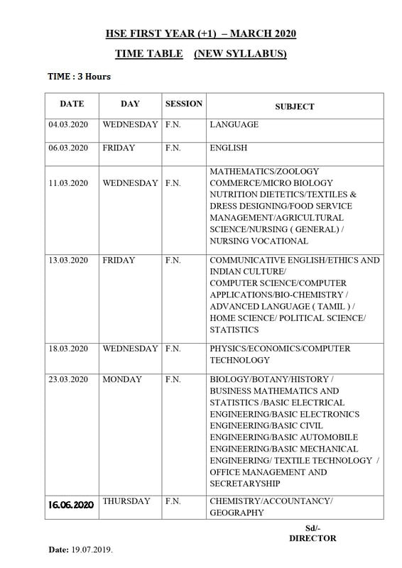 11th Public Exam 2020 Time Table Tamil Nadu