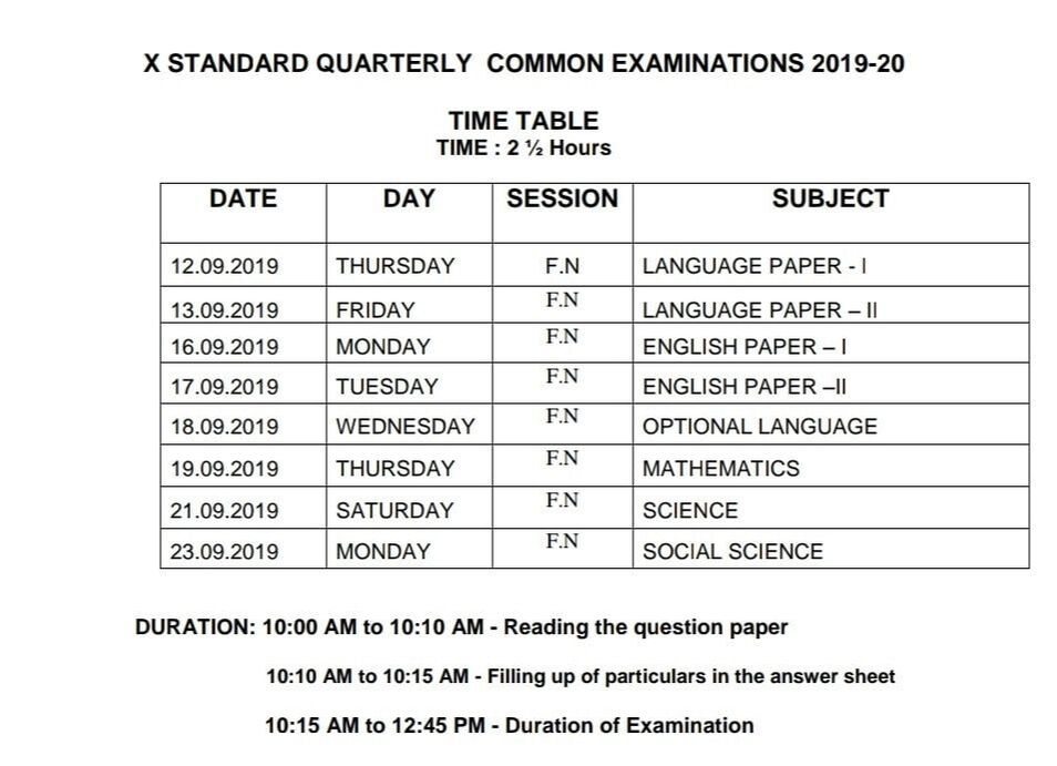 10th Quarterly 2019 Time Table