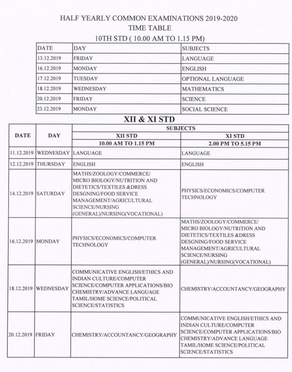 HALF YEARLY EXAM 2019 TIME TABLE