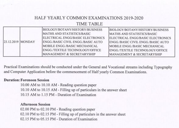 HALF YEARLY EXAM TIME TABLE 2019