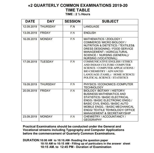 12th / Plus Two Quarterly Exam 2019 Time Table