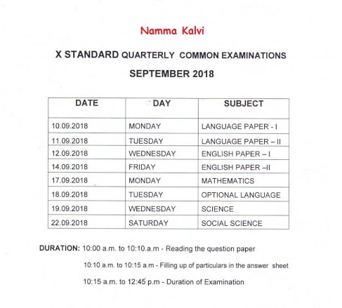 10th Quarterly and Half Yearly Exam 2018 - 2019 Original Question
